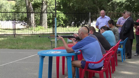 Men Compete In Shooting From A Pneumatic stock footage