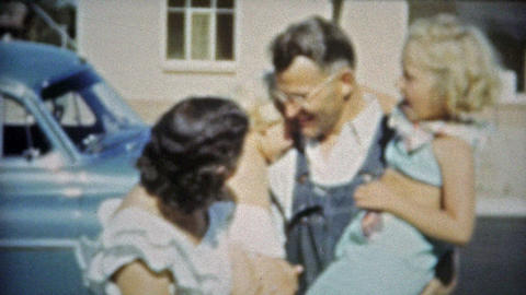 1953: Rural New Family Of Four Sticking Together stock footage