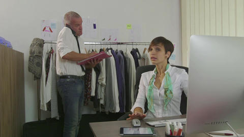 Career Success Teamwork Man And Woman In Fashion Clothes Office Footage