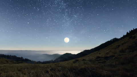 Starry Night In The Mountains stock footage