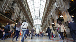 Visitors in interior of famous shopping mall, Milan Footage