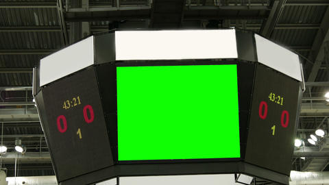 Scoreboard At The Stadium With A Green Screen And Banners stock footage