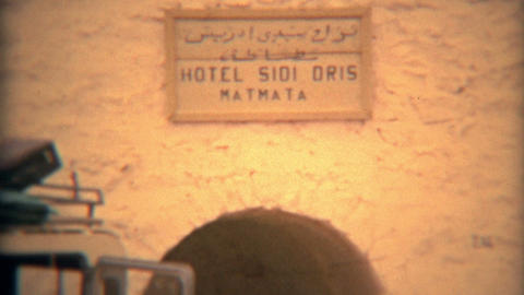 MATMATA, TUNISIA 1975: Hotel Sidi Dris Cave Travel Living In Matmata, Tunisia stock footage