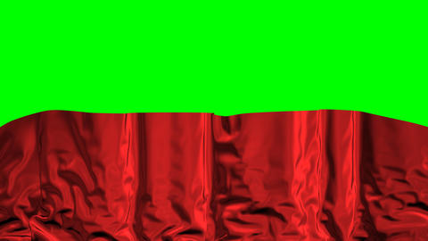 Falling Curtain On A Green Background stock footage