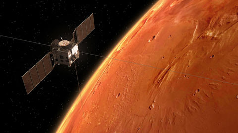 "Interplanetary Space Station ""Mars Express"" Orbiting Planet Mars stock footage"