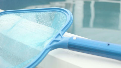 Close Up Fishnet Clean Swimming Pool stock footage