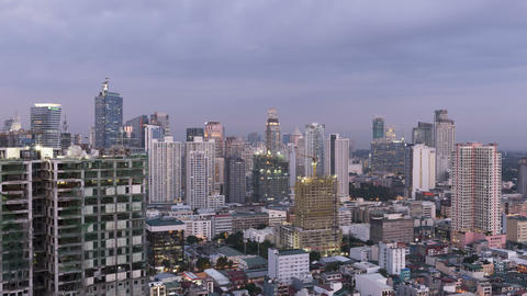 Day To Time Timelapse Of Makati City - Metro Manila - Philippines stock footage