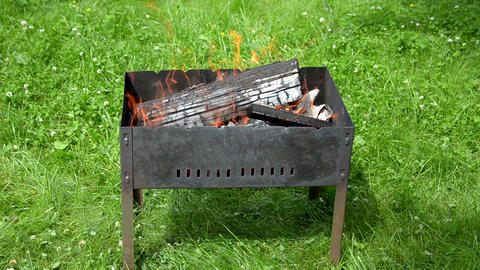 View Of The Fire Tongues In The Garden Barbecue stock footage