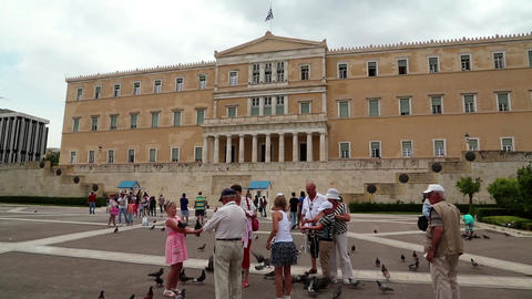 People And Pigeons Near Parliament In Athens, Greece stock footage