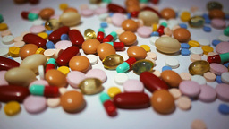 Colorful Pills, Tablets And Capsules Dolly Shot stock footage