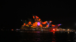 Multi Colored Sydney Opera House stock footage