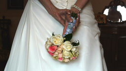 wedding dress and bouquet Footage