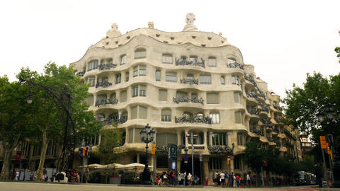 Gaudi Pedrera Building In Barcelona stock footage