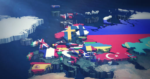 4K European Country Flags 3X10 Second Inserts Animation