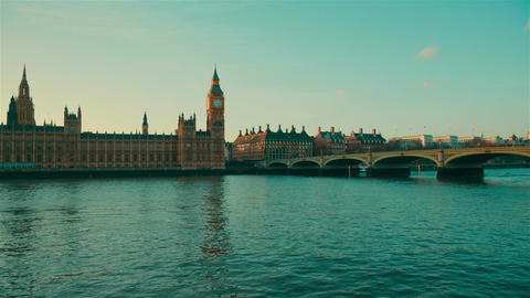 Big Ben, Westminster And Houses Of Parliament By The Golden Hour stock footage