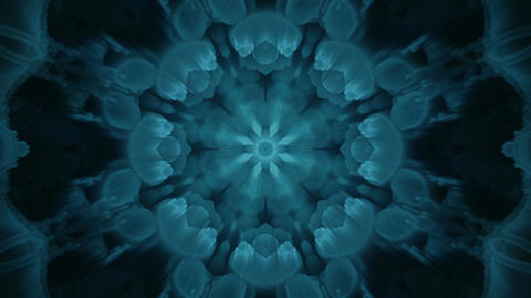 Radiating Seamless Blue Fractal Kaleidoscope Background From Bacteria stock footage