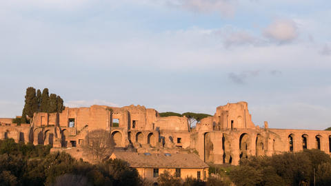 Ruins Of Palatine Hill Palace In Rome. SunSet. Italy. Time Lapse. 1280x720 stock footage