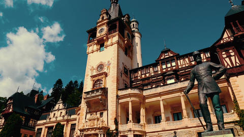 Peles Castle in Romania - Panoramic View Footage