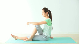 A Woman Doing Yoga stock footage
