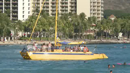 Tourist boat moving in Honolulu, Hawaii Footage