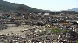 Devastated area by Tsunami in Japan Footage
