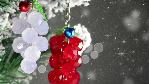 Bunch Of Berries Christmas Tree Decoration Close-up Loop 4k (4096x2304) stock footage