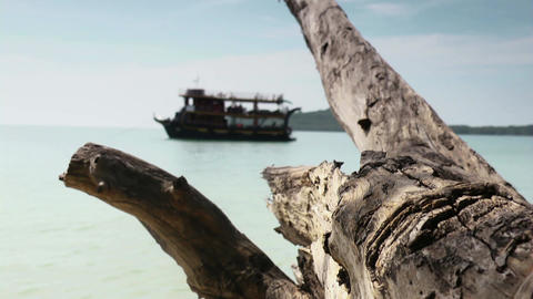 Sihanoukville boat and tropical sea Footage