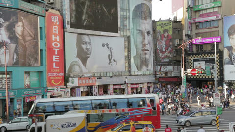 Crowds At Ximending Shopping Area WS Zoom Out stock footage