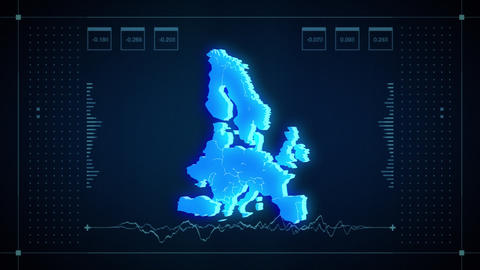 Europe Hologram Map stock footage