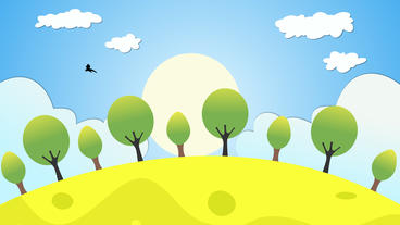 Cartoon Environment Motion Animation Including Clouds Sunrise Birds And Tress stock footage