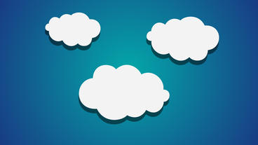 Three Cartoon Clouds Popup Animation On Blue Background stock footage