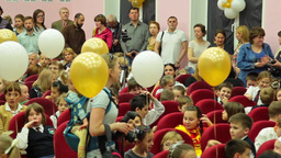 School Holiday, Children, Parents, Teachers, Balloons stock footage