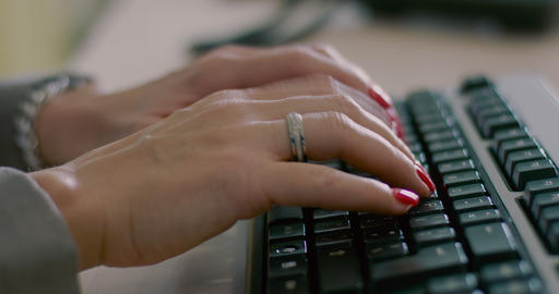 Women's Hands Typing On Computer Keyboard stock footage