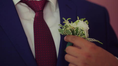 The Groom Corrects A Buttonhole stock footage