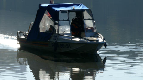 The Boat With Russian Flag And River stock footage
