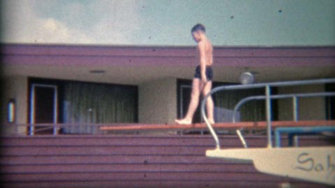 1956: High Hotel Diving Board At The Sahara Miami Beach Hotel stock footage