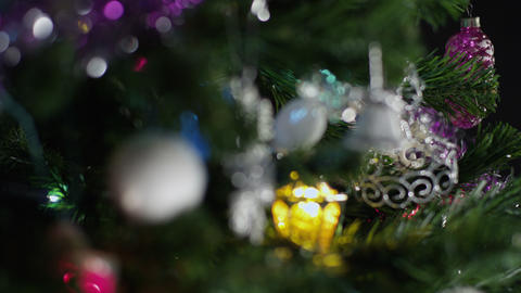 Decorations New Year tree. Loopable defocus Footage