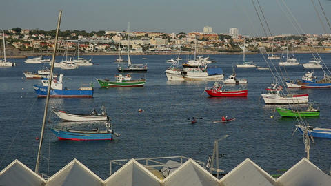 Cascais, PORTUGAL - September, 2015: Coloful Fishing Boats In The Port Of Cascai stock footage