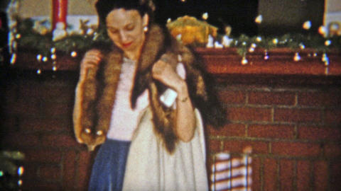 1954: Women Gets Mink Fur Stole For Christmas Gift stock footage
