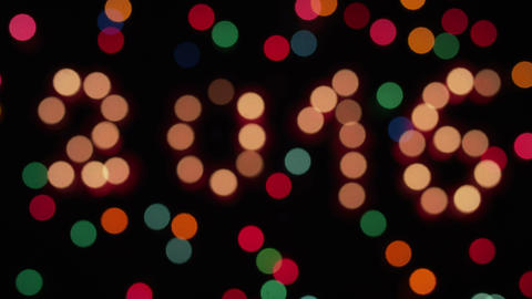 Glowing 2016 And Colored Lights Defocus stock footage