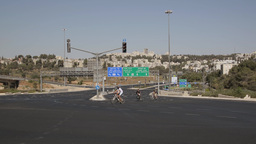 The Almost Empty Road Begin Crossing Golomb In Jerusalem On Yom Kippur stock footage