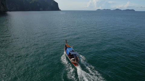 Aerial View Of Long-tail Boat At Koh Mook, Thailand stock footage