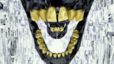 Black Skull With Gold Teeth Seamless Loop Tunnel Footage