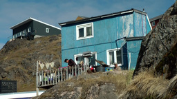 Greenland Small Town Qaqortoq 058 Primitive Residential House Between Rocks; The stock footage