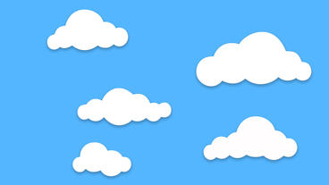 Different Shape Cartoon Clouds Popup And Floating On Blue Background stock footage