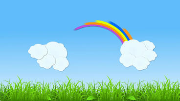 Rainbow And Cloud Popup Animation With Grass Strip stock footage