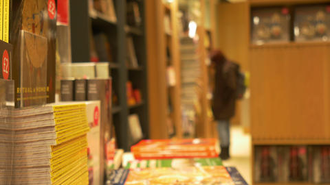 Inside A Bookstore stock footage