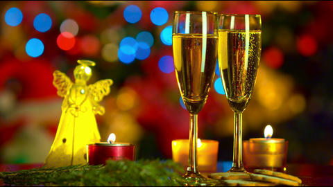 Christmas Celebration With Two Champagne Glasses stock footage