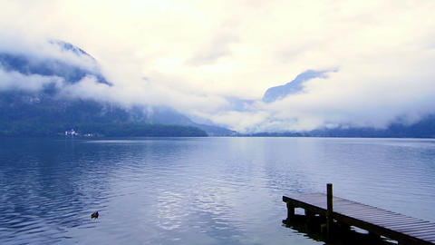 Beautiful Calm Cloudy Lake With Small Port And Duck stock footage