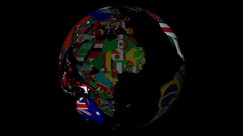 Globe With Countries And Their National Flags stock footage